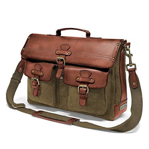 DRAKENSBERG Messenger Bag - Borsa a tracolla e borsa per laptop da 15' per uomini in stile retrò vintage, realizzata a mano in qualità premium, 15L, tela e pelle, verde oliva, DR00121