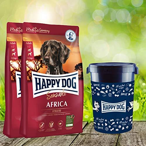 Happy Dog 25 kg = 2 x 12,5 kg Supreme Africa Futtertonne 43 Liter