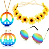Tacey Conjunto de Disfraces Hippies - Collar Estilo círculo de los años 60 Signo de la Paz Collar Hippie Diadema 60s Kit de Accesorios para Fiestas