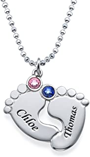 Custom Baby Feet Pendant Made with Swarovski Crystals-Personalized Made Jewelry