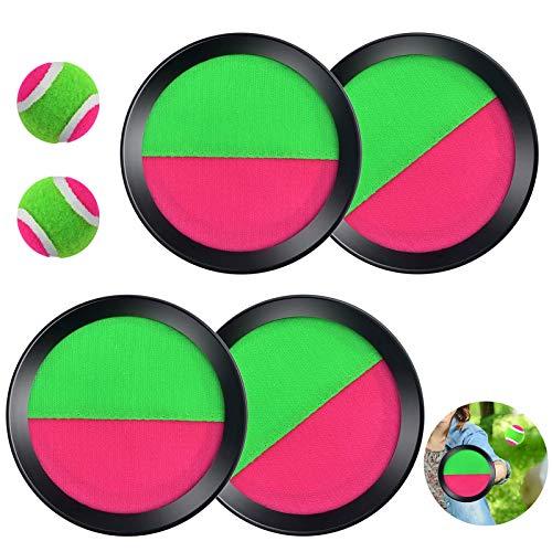 Klettball Set,Fangspiel Klettball,Klett-Ballspiel für Kinder,Fangballspiel kinder,Klett Ball,Kinder wurf- und Fangspiel,Fangspiel Klettball,Klettball für Party,Garten,Strand(Grün)