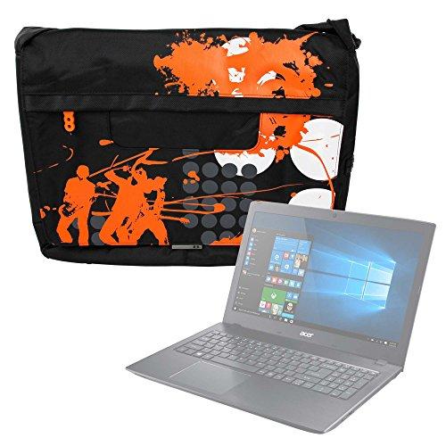 DURAGADGET Bolso Negro con Print En Color Naranja para Portátil Acer Aspire ES 15 (ES1-533-P5QH) / Medion Akoya P6667