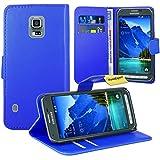 FoneExpert Samsung Galaxy S5 Active Housse Coque Etui Housse Coque en Cuir Portefeuille Wallet Case Cover pour Samsung Galaxy S5 Active