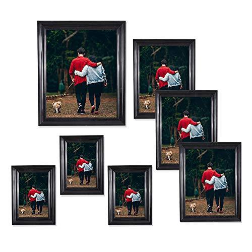 Photoboyz Juego de 7 Marcos de Fotos Negros para Pared y Mesa, Tres de 5 x 7, Tres de 4 x 6, uno de 8 x 10 Pulgadas