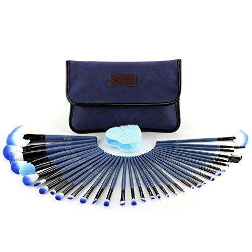 Glow Blue Makeup Brushes Set - 34-teiliges Make-up Brush Set mit Make-up Pinsel Cleaner/Scrubber Für Make-up für Gesicht und Augen - Wildleder-Stoffetui - Handy Cosmetic Makeup Kit - Blaue Farbe