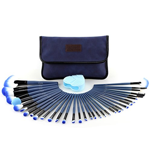 Glow Blue Makeup Brushes Set - 34-teiliges Make-up Brush Set mit Make-up Pinsel Cleaner/Scrubber...