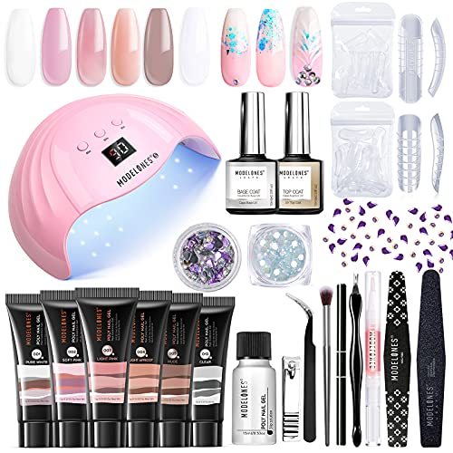Modelones Poly Extension Gel Nail Kit - 6 Colors with 48W Nail Light Nail Lamp Slip Solution Rhinestones Glitter All In One Kit for Nail Manicure Beginner Starter Kit DIY at Home