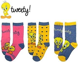 Pack 3 pares de calcetines DISNEY con varios estampados y personajes para niñas - Piolín, 23-26