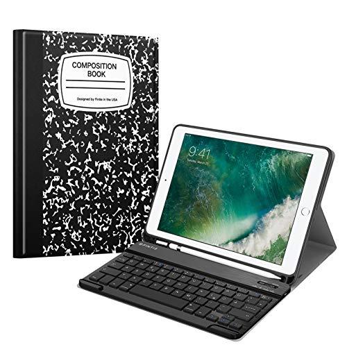 Fintie Tastatur Hülle für iPad 9.7 2018 (6. Generation), Soft TPU Rückseite Gehäuse Keyboard Hülle mit eingebautem Pencil Halter, magnetisch Abnehmbarer QWERTZ Bluetooth Tastatur, Notizblock