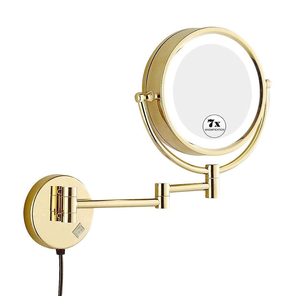 胃地域のあご壁掛け化粧鏡、LED 7倍拡大化粧鏡調節可能な高さ両面鏡用バスルームの寝室