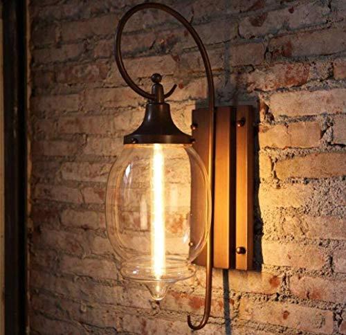 MGWA Luces de Pared Creativas De La Pared Exterior Luz Casal Vintage Lámpara De Pared Impermeable Grande Pantalla De Cristal De La Lámpara De Metal, Luz Caliente, A