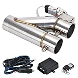 """PQY Universal 3"""" Electric Exhaust Cutout Remote Controller Motor E-cut Valve Kit Dual Flaps Type"""