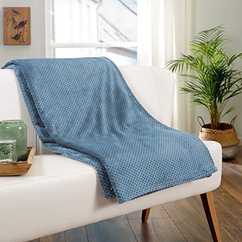 Delindo Lifestyle® Manta Milano azul, microfibra polar, 220 x 240 cm, XXL, manta marítima, suave y mullida, para noches relajadas