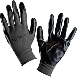 SAFE HANDLER Nitrile Firm Grip Work Gloves | Lightweight, Breathable Lining, Fitted Wrist, Non-Slip Grip, Abrasion Resistant, Black/Grey, OSFM, Pack of 12 Pairs