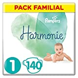 Pampers  - Harmonie - Couches Taille 1 (2-5 kg) Hypoallergénique - Pack Familial(140 couches)