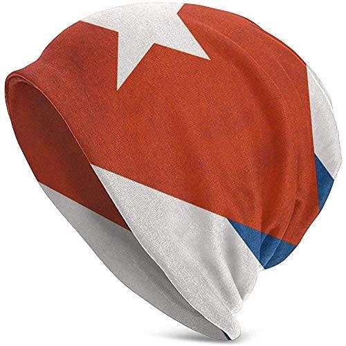 Gorro Diario de los Hombres de la Bandera Cubana de la Vendimia, cálido, Holgado, Suave Gorro, Comodidad Durante Todo el año, Gorros serios, Gorro Delgado y Gorro de Punto Holgado. Negro