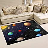 Linomo Area Rug Educational Outer Space Universe Planet Floor Rugs Doormat Living Room Home Decor, Carpets Area Mats for Kids Boys Girls Bedroom 60 x 39 Inches