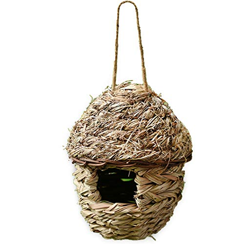Together-life Handwoven Straw Bird Cage Nest House, 100% Natural Fiber Hanging Birdhouse Hatching Breeding Cave Cozy Resting Breeding Place for Birds - Ideal for Parrot, Canary, Finch or Cockatiel