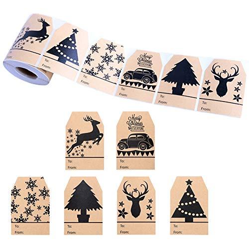 360 Noël auto-adhésif cadeau autocollants 6 modèles assortis Santa bonhommes de neige Noël arbre cerf Noël Festival anniversaire mariage cadeaux décoratifs étiquettes autocollants