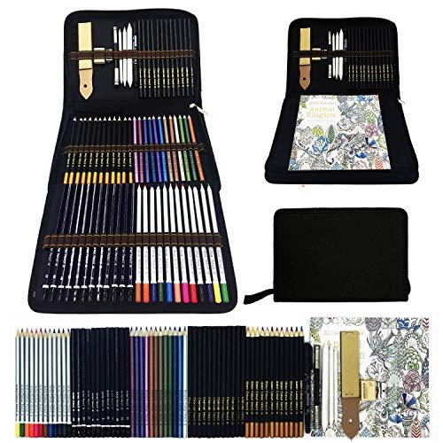Bosquejo Lápices de Dibujo del Artístico Profesional,Set de Lápices de Colores-Juego de 70 lápices metálicos,acuarela,dibujo,carbón,para colorear libros-Conjunto Ideal para Artistas,Adultos y Niños