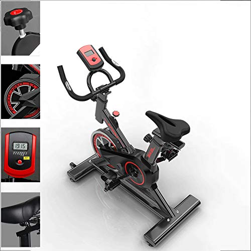 JKJ Bicicleta estática, Bicicleta de Spinning con Pantalla LED, Ultra silencioso de Dos vías de transmisión del cinturón, Los manillares Ajustables y Asiento