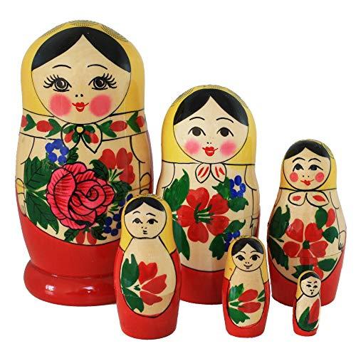 Semenovskaya Rospis original russische Matroschka Puppen Babuschka Matrjoschka Holzpuppen klassisch (6 Puppen 13 cm gelbes Tuch)