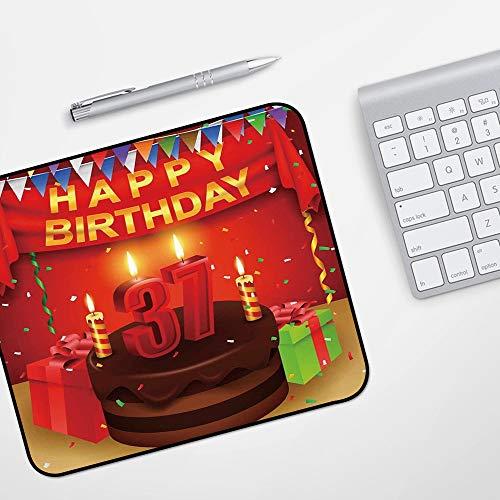 Gaming Mousepad Mauspad,37. Geburtstag Dekorationen, Schokoladenkuchen Geschenke Luftballons Flagge süße Icons Kerzen Artsy Bild, Mult,Komfort Mousepad - verbessert Präzision und Geschwindigkeit