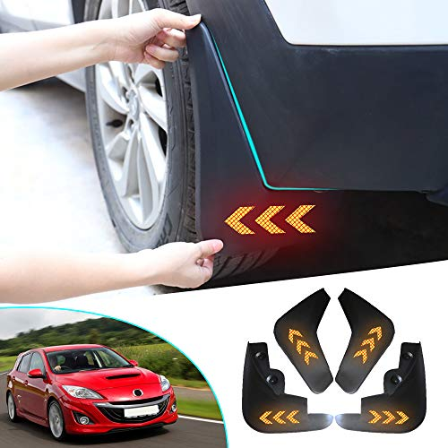 Muchkey no dril car mud Flaps for Mazda 3 2009 2010 2011 2012+Self-Adhesive Safety refelctive Tape Warning Tape Marking Waterproof for Splash Front and Rear Guards 4pcs/Set
