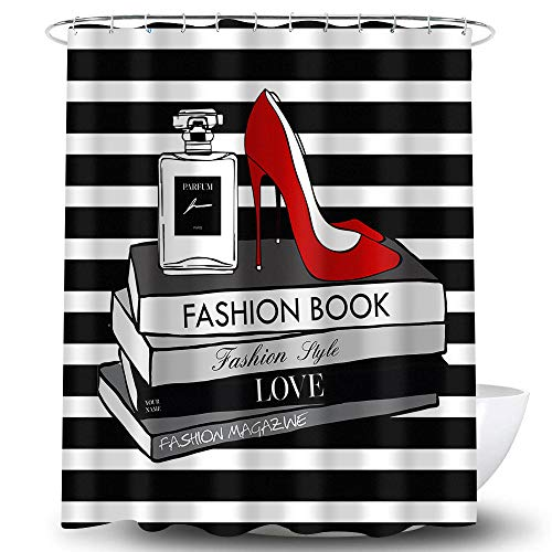 Fashion Shower Curtain Book Stack Fashion Magazines Collection Red High Heels Shoes Perfume Bottles Black and White Stripe Bathroom Waterproof Decor Home Fabric Print Set with 12 Hooks 72x72 Inches