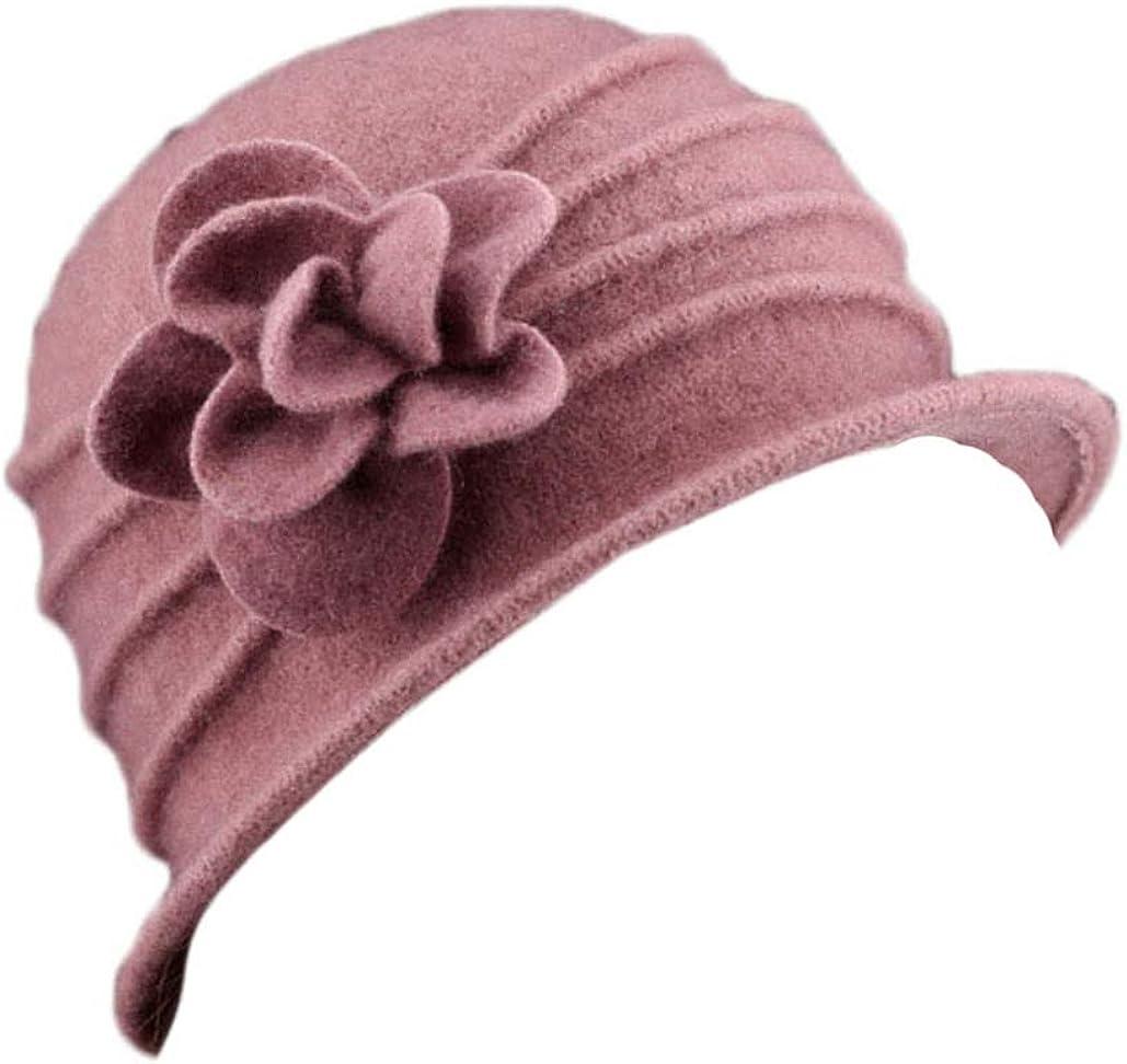 Xoemir Womens 100% Wool Beanies Beret Caps Winter Fedora Bucket Hat with Flower