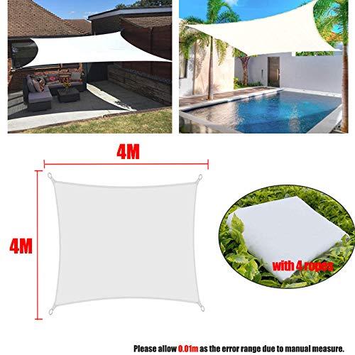 Weiß 300D wasserdicht Polyester Square Rechteck Schatten Segel Gartenterrasse Baldachin Schwimmen Sonnenschutz Camping Yard Segel Markise-4x4m