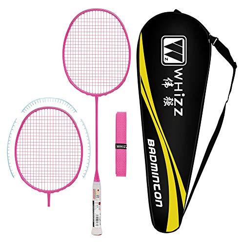 Whizz Kratzfestes Design Badmintonschläger mit Tasche Griffband, One Piece 100% Graphit (Rosa)
