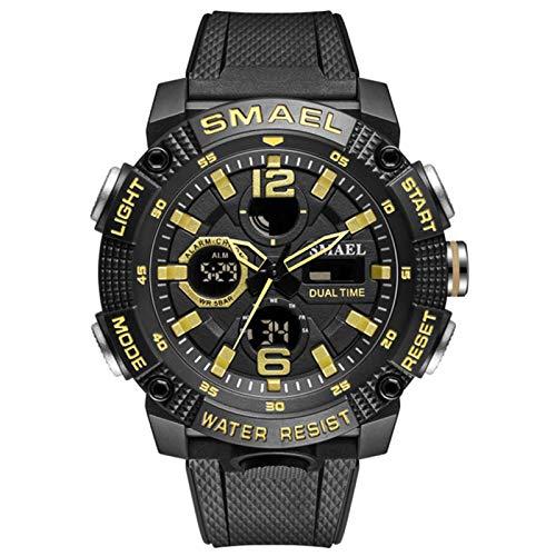 JTTM Relojes Deportivos para Hombre, Resistente al Agua Digital Militares Relojes con Cuenta atrás para los Hombres niños Grandes,LED de analógico Relojes de Pulsera para Hombre,Black Gold
