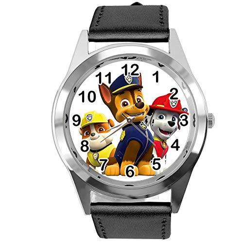Reloj analógico de cuarzo con correa de piel auténtica negra redonda para fans de Pup
