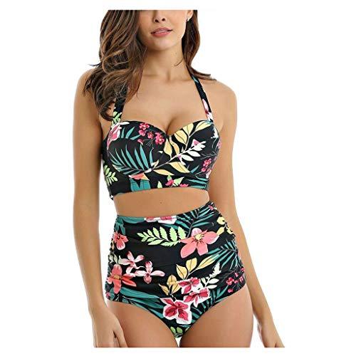Mujer Clásico Traje de baño Dos Pedazo Retro Cabestro Fruncido Alto Cintura Impresión Bikini Conjunto Bikini la Sirenita Traje Militar Tanga