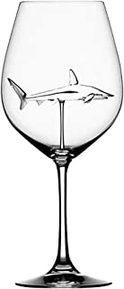 Ouniman Creative Shark Wine Glass Crystal Clear Red White Wine Glass Stemmed Long Stem Cocktails Scotch Goblet, Durable Reusable for Home Dinner Party Bar Wedding Gift for Wine Lovers (Clear(1pcs))