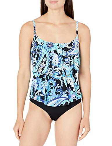 24th & Ocean Women's 2-Tiered Ruffle Tankini Swimsuit Top, Multi//Havana Paisley, L
