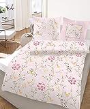 2 teilige Bettwäsche 135x200 cm Blumen rosa Rose Fein Biber Baumwolle B-Ware