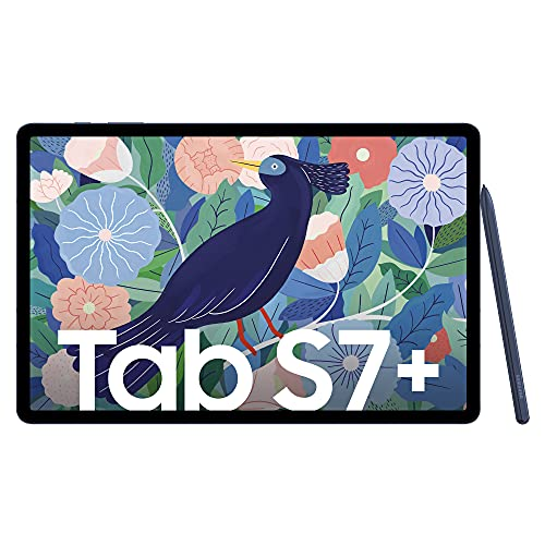Samsung Galaxy Tab S7+, Android Tablet mit Stift, WiFi, 256 GB/8 GB RAM, Tablet in blau + Book Cover Samsung Tab S7+ Black inkl. JBL Headset Tune TWS 115