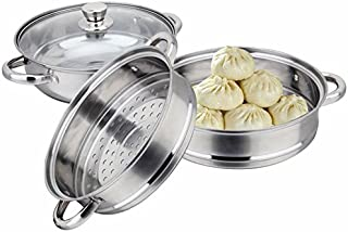 11 inch Stainless Steel 3 Tier Steamer Food Induction Steaming Pot Dim Sum Cookware Steamer For Kitcken Cooking Tool (3 Tier)