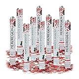 Relaxdays – Conjunto de 10 cañones de Confeti, cañón Confeti para Bodas y cumpleaños, Efecto Altura de 6 a 8 Metro, corazón Rojo