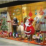 Voqeen Navidad Pegatina de Ventana Santa Grande Árbol de Navidad Adorno de Lindo Navidad Tienda De Ventana Pegatinas De Pared DIY Pegatinas para Escaparate