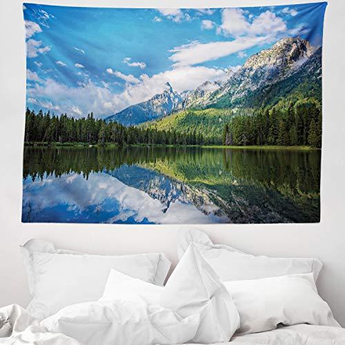 ABAKUHAUS Landschaft Wandteppich & Tagesdecke, Mountain Lake Scenery, aus Weiches Mikrofaser Stoff Wand Dekoration Für Schlafzimmer, 150 x 110 cm, Blau Weiß Grün