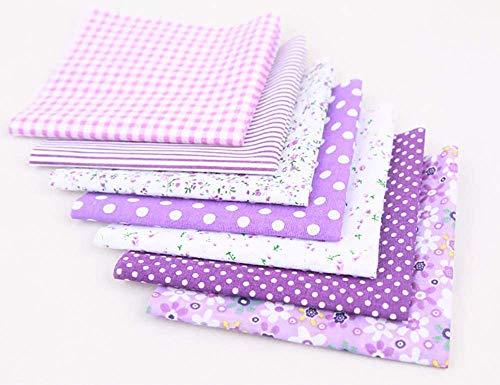 CHYU 7 Stück Baumwollstoff meterware Stoffpakete Patchwork Baumwolle Baumwollstoff Meterware je 50 x 50 cm DIY Handgefertigte Nähen Stoff (Purple)