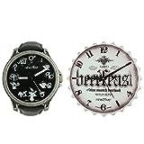 Reloj Nine2Five en Kit de Regalo con Reloj de Pared para Hombres 48mm, pulsera de Cuero Sintético
