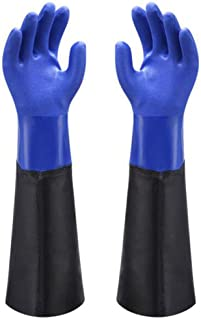 Waterproof PVC Coated Glove with Cotton Liner,Heavy Duty Latex Gloves, Resist Strong Acid, Alkali and Oil,Fishing Operatio...
