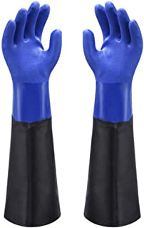 Waterproof PVC Coated Glove with Cotton Liner,Heavy Duty Latex Gloves, Resist Strong Acid, Alkali and Oil,Fishing Operation rubber Gloves -23