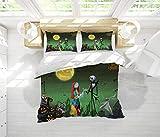 Juego de cama de edredón Juego de 3 piezas La pesadilla antes de Navidad Impresión de ropa de cama Set Juego completo de funda nórdica Funda de edredón con 2 fundas de almohada Suave, cómoda, transpir