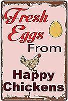 レトロな金属マークに「ハッピーニワトリ生卵」と書かれています