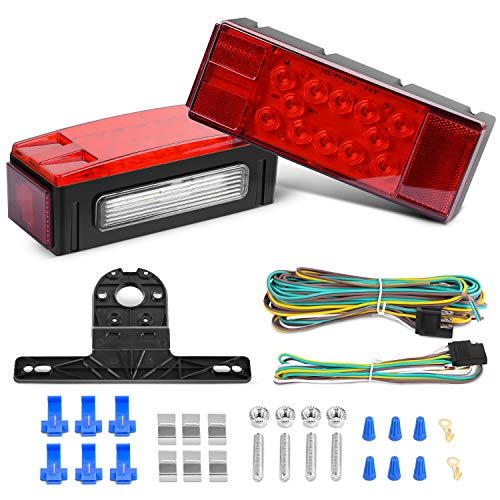 Nilight TL-20 2PCS Submersible Kit Low Profile Rectangular LED Stop Tail Turn Signal Side Marker Light on 12V RV Pickup Trucks Marine Boats Trailers, 2 Years Warranty
